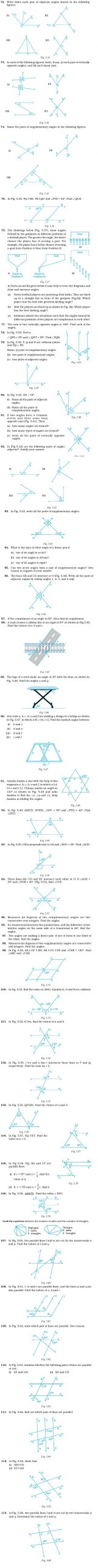 Lines and Angles Worksheet Class 7 Important Questions for Maths – Lines and Angles
