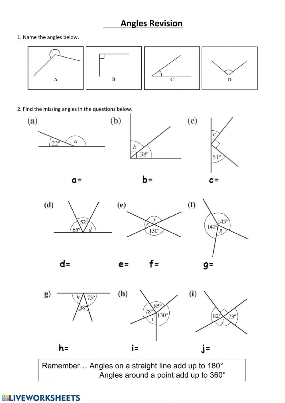 Lines and Angles Worksheet Finding Missing Angles Interactive Worksheet
