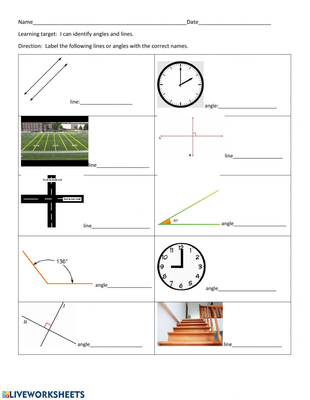 Lines and Angles Worksheet Lines and Angels Interactive Worksheet
