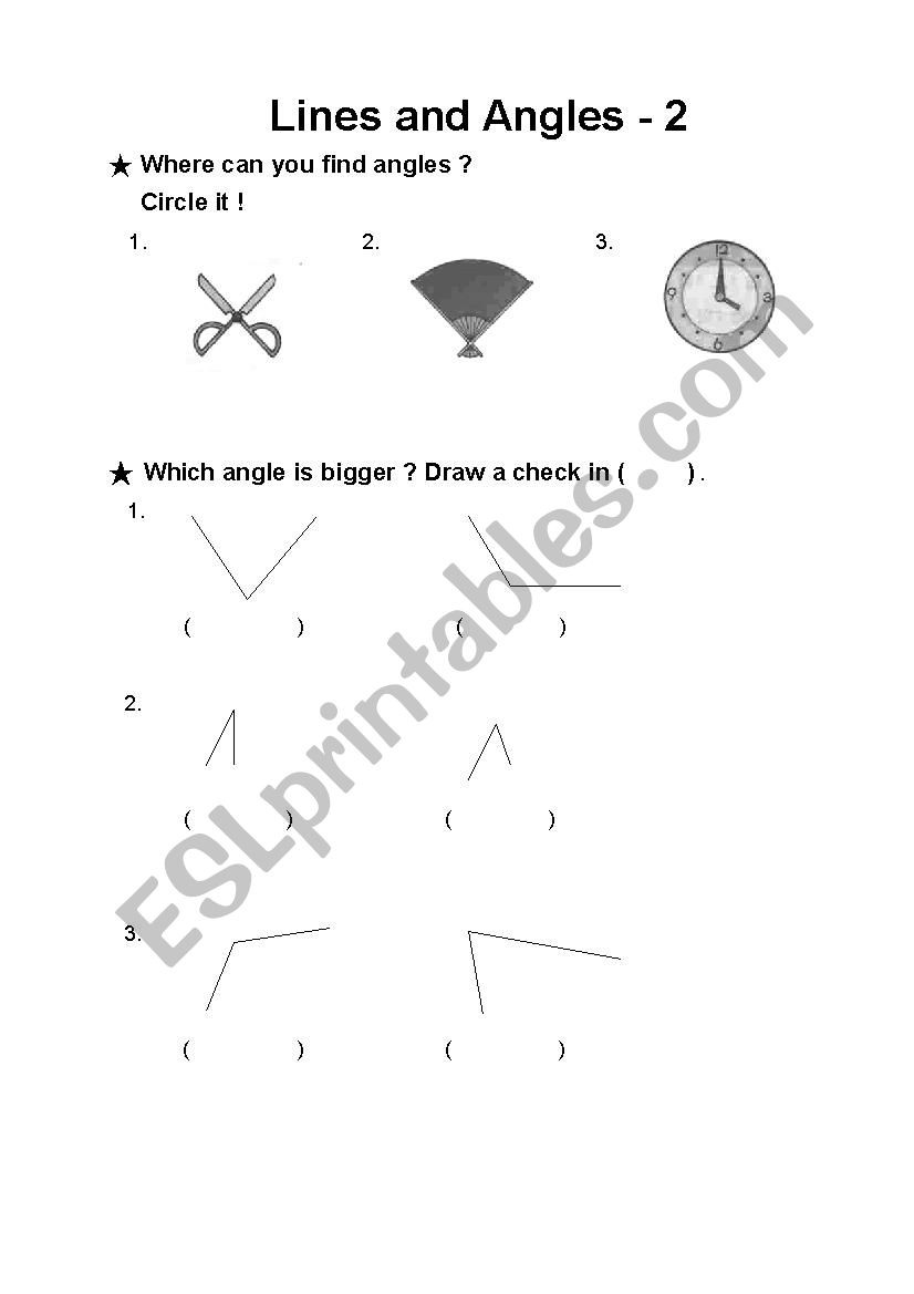 Lines and Angles Worksheet Lines and Angles 2 Esl Worksheet by Christie6615