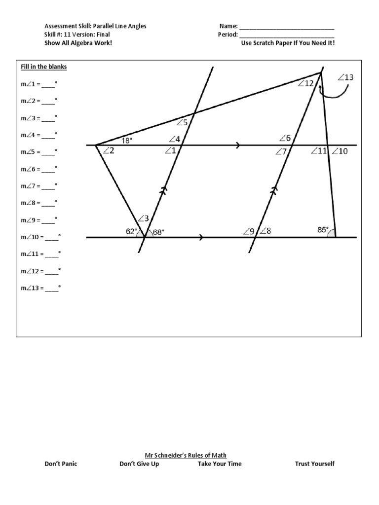 Lines and Angles Worksheet Parallel Line Angles Final