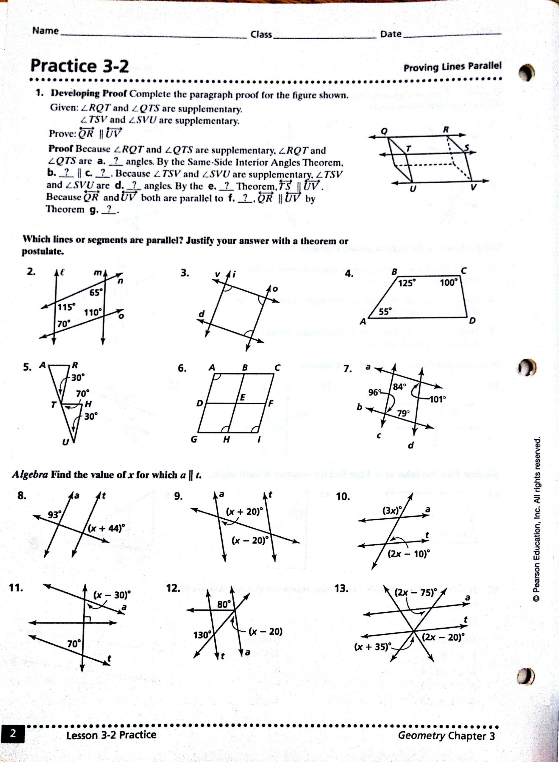 Lines and Angles Worksheet Parallel Lines and Angles Worksheet Answers