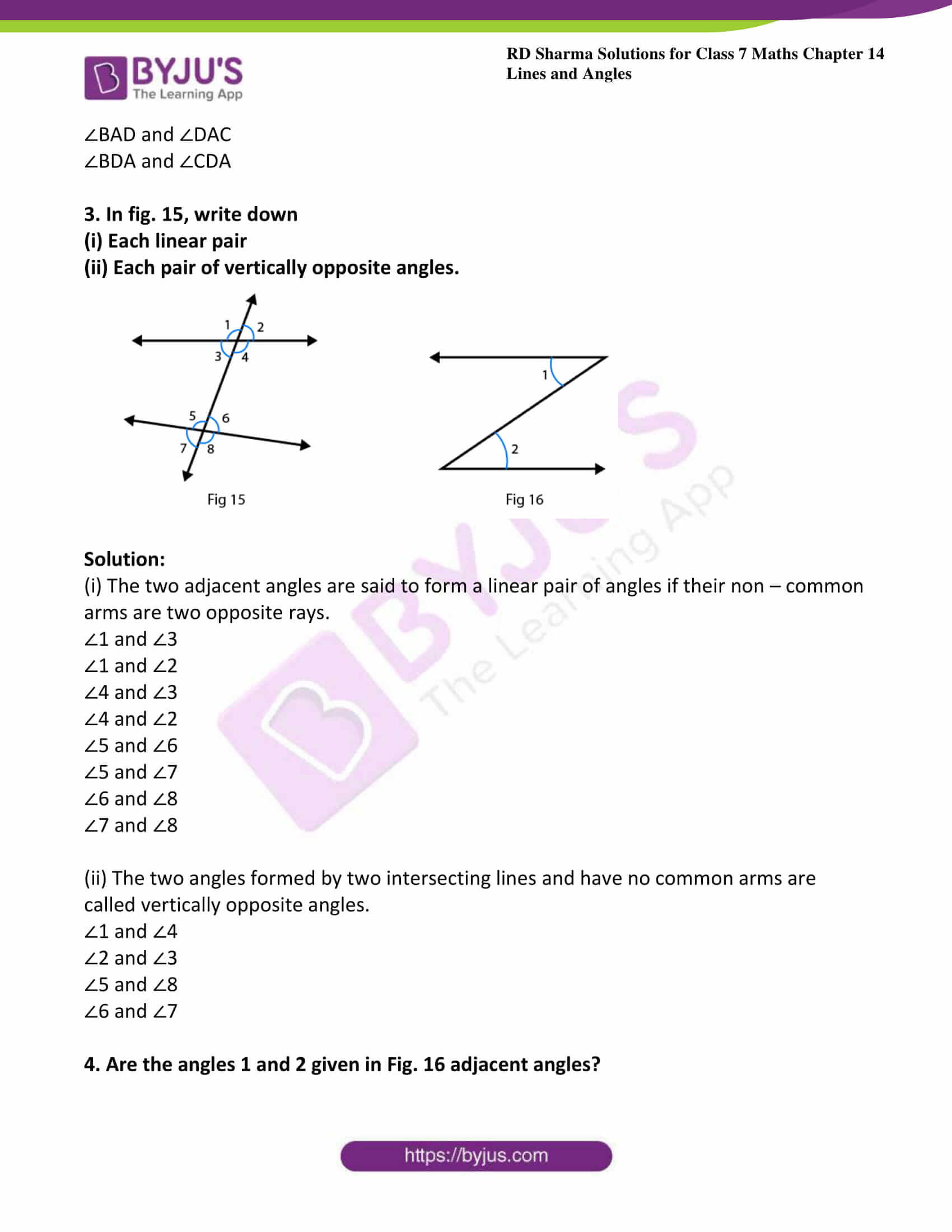 Lines and Angles Worksheet Rd Sharma solutions for Class 7 Maths Chapter 14 Lines and
