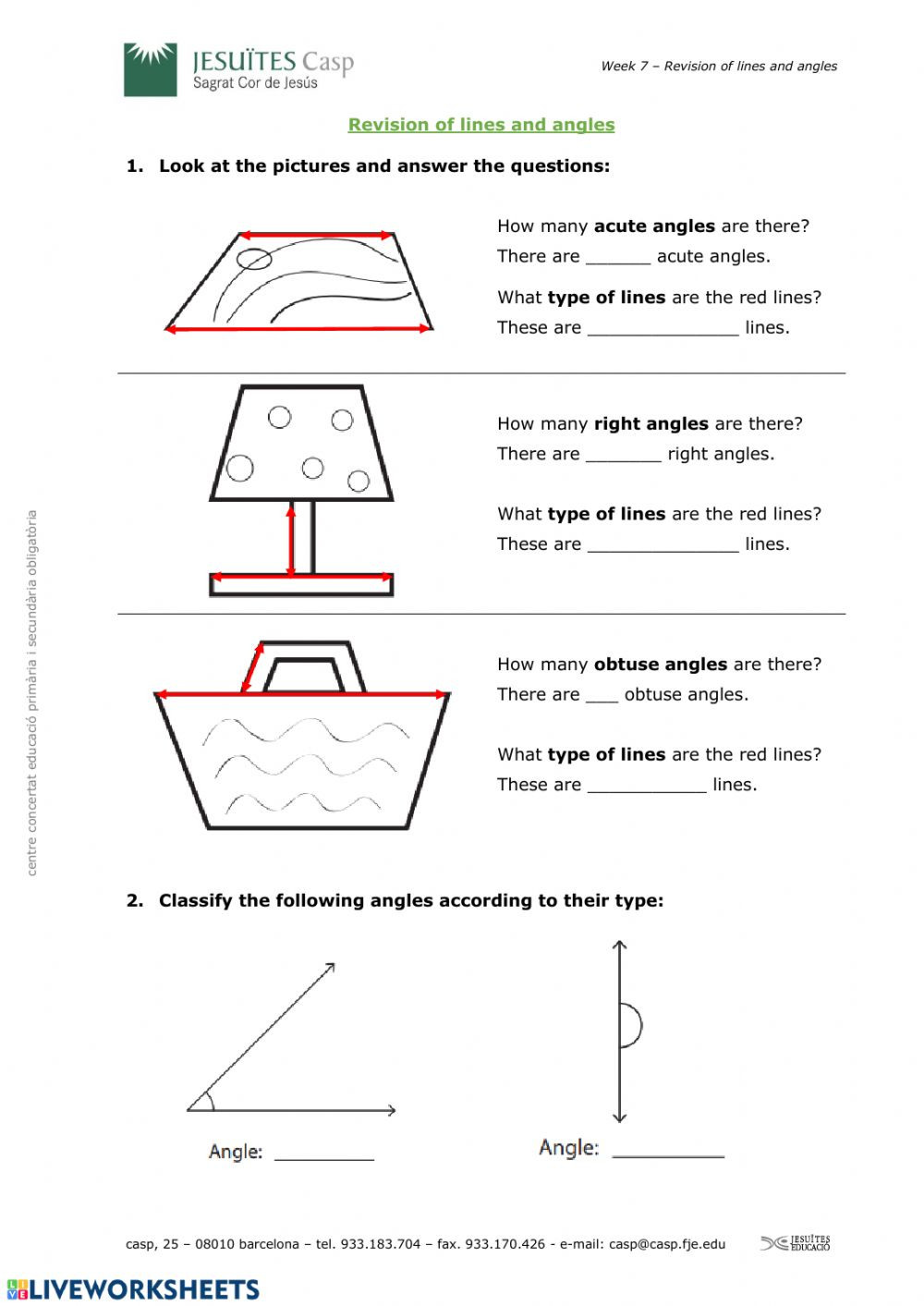 Lines and Angles Worksheet Revision Lines and Angles Interactive Worksheet
