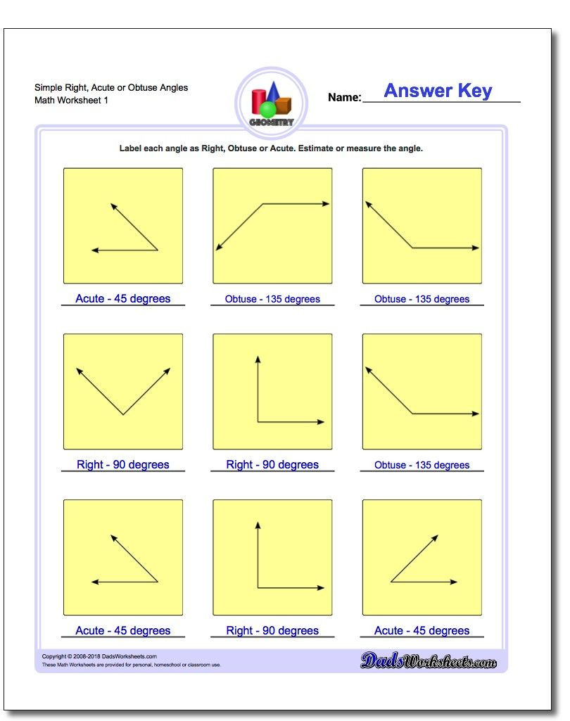 Lines and Angles Worksheet Simple Right Acute or Obtuse Angles Worksheet Basic