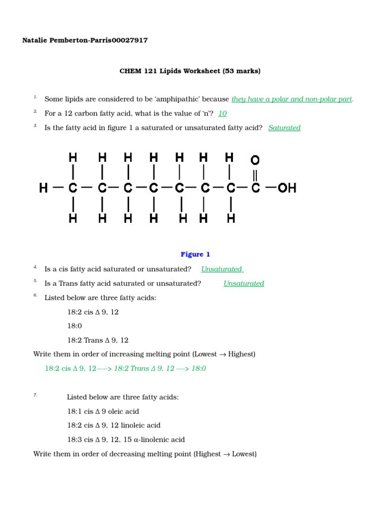 Lipids Worksheet Answer Key Lipids Worksheet Lipoprotein