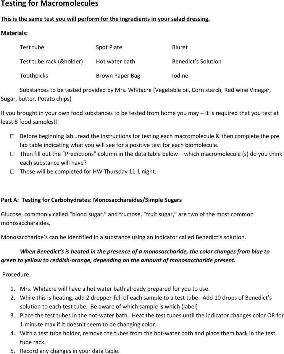 Macromolecules Worksheet Answer Key Macromolecules In My Food Pdf Free Download