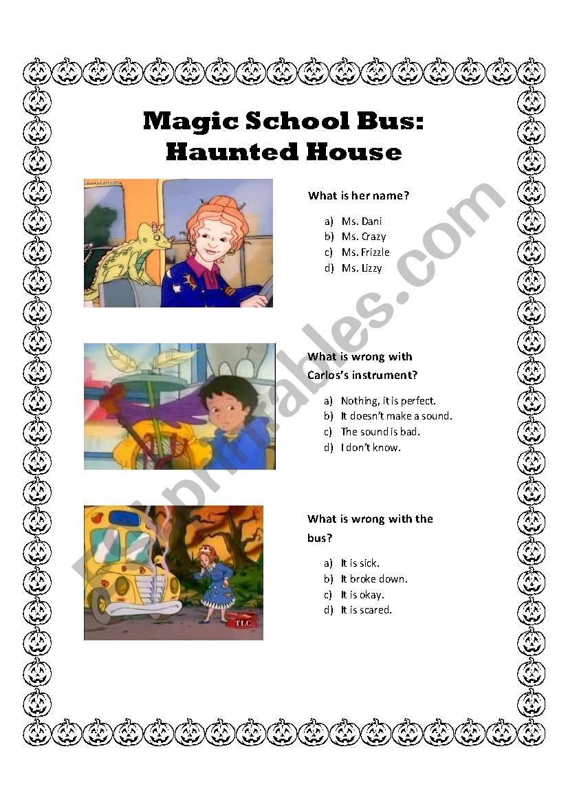 Magic School Bus Worksheet Magic School House Haunted House Esl Worksheet by Dnlserra