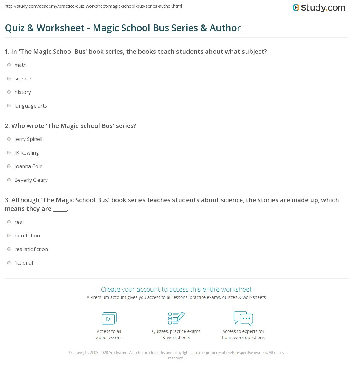 Magic School Bus Worksheet Quiz & Worksheet Magic School Bus Series & Author