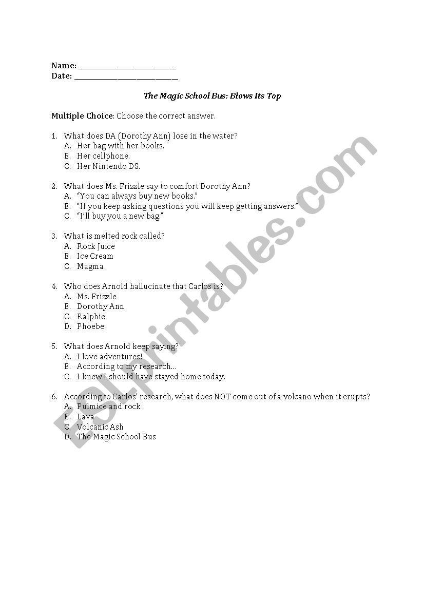 Magic School Bus Worksheet the Magic School Bus Blows Its top Esl Worksheet by