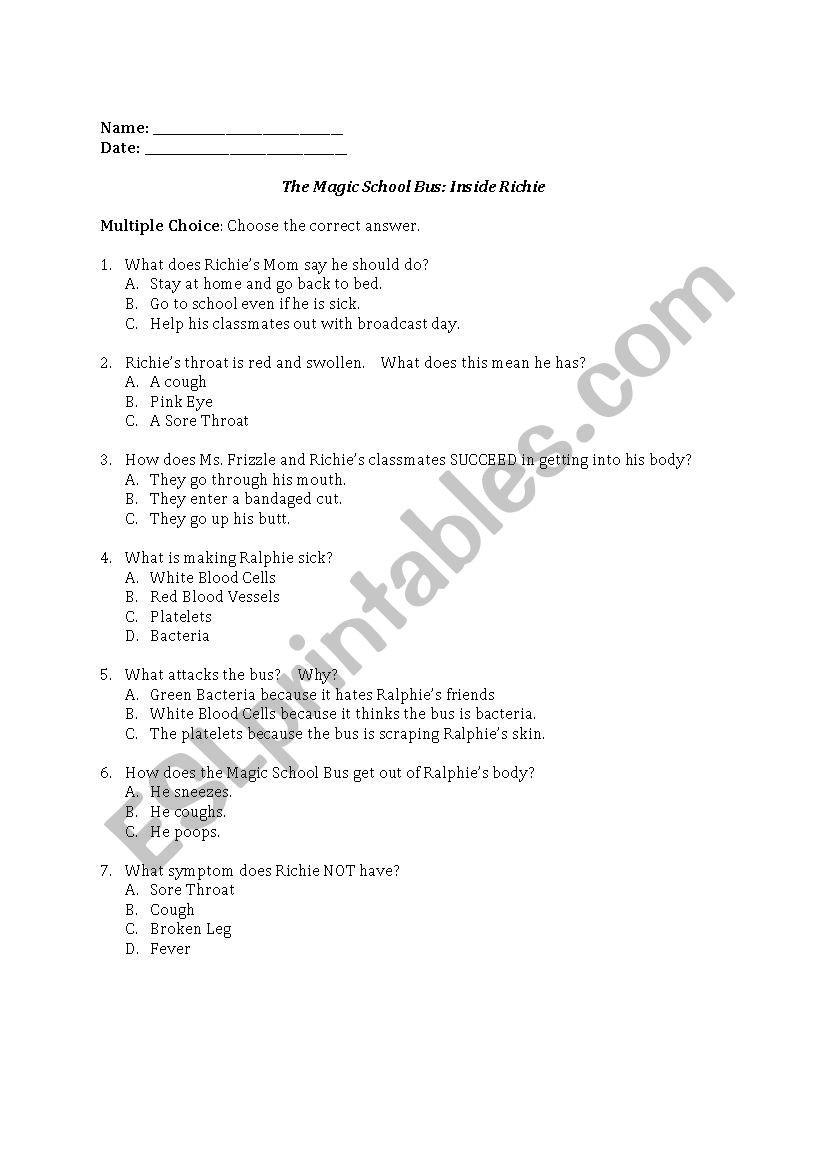 Magic School Bus Worksheet the Magic School Bus Inside Richie Esl Worksheet by