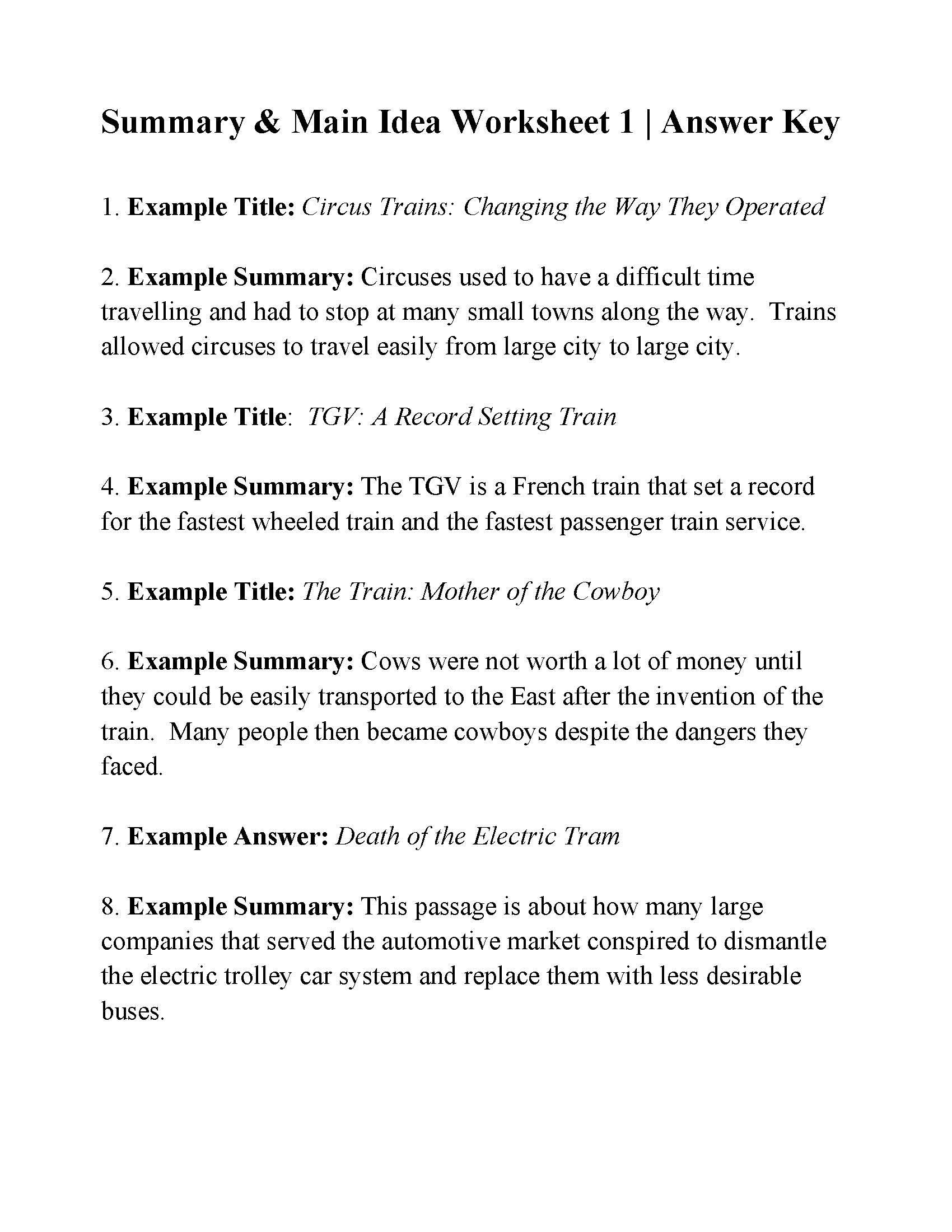 Main Idea Worksheet 4 This is the Answer Key for the Summary and Main Idea