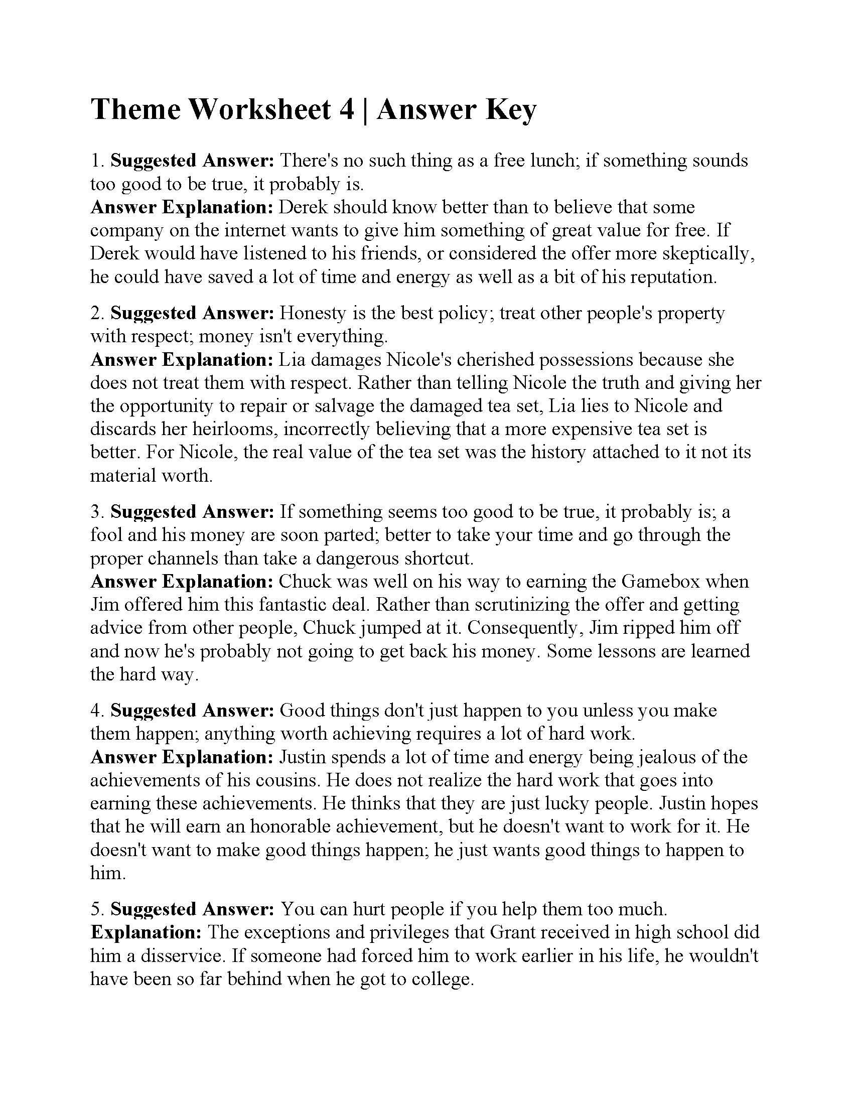 Main Idea Worksheet 4 This is the Answer Key for the theme Worksheet 4