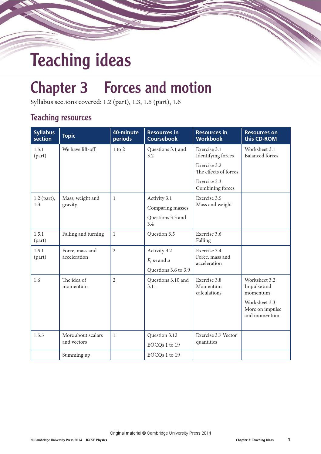 Mass and Weight Worksheet Cambridge Igcse Physics Teacher S Resource Second Edition