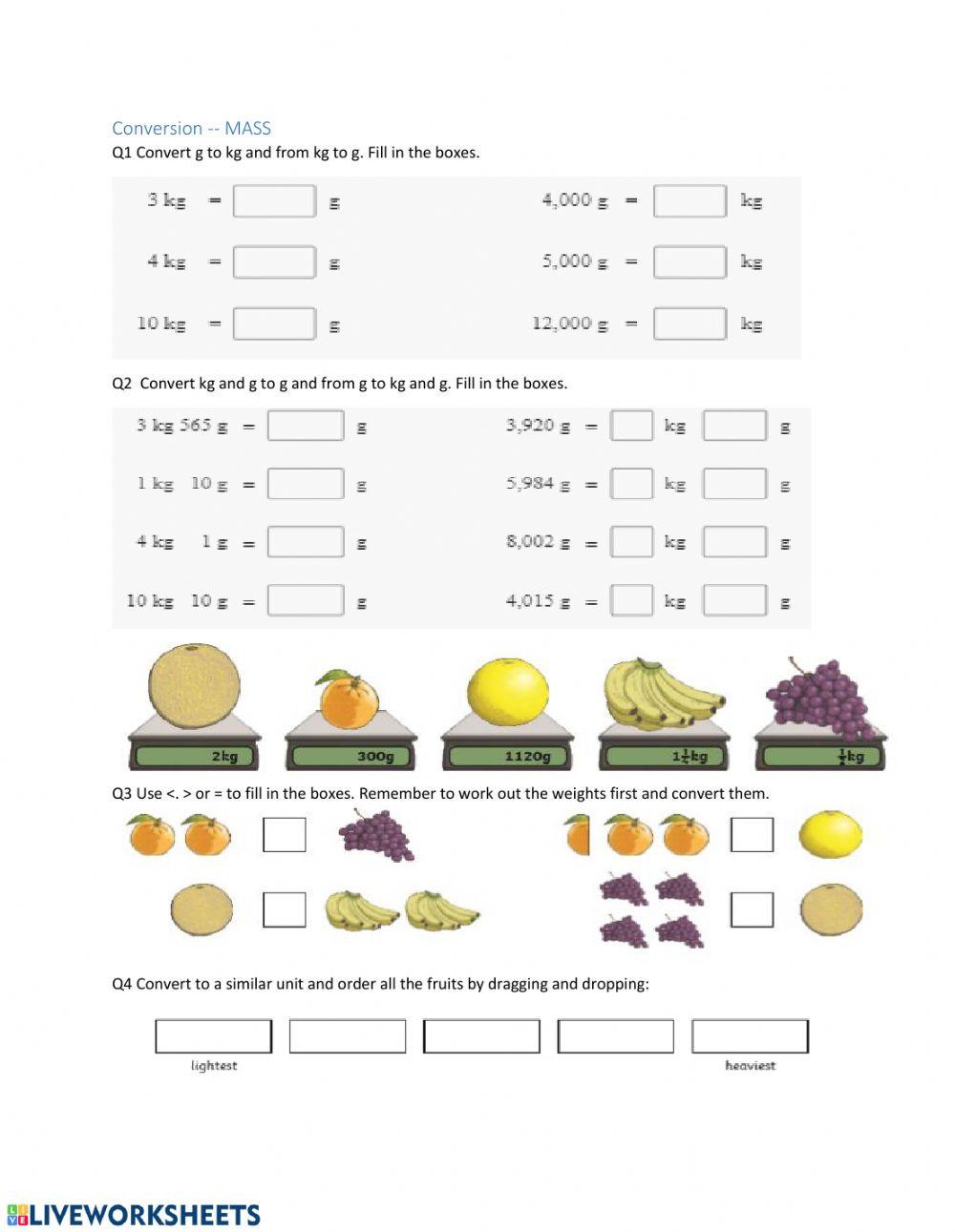 Mass and Weight Worksheet Convert and Pare Mass Interactive Worksheet