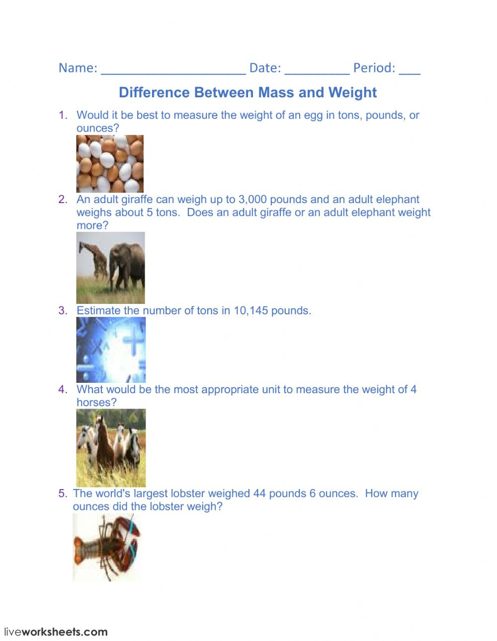 Mass and Weight Worksheet Difference Between Mass and Weight Interactive Worksheet