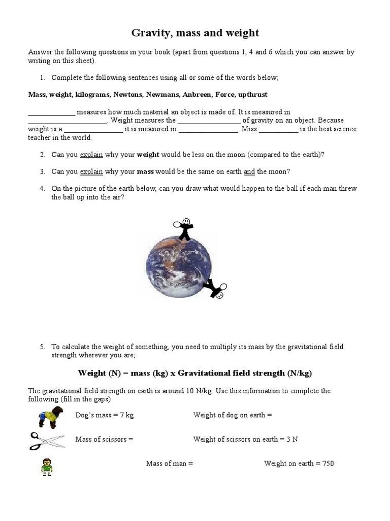 Mass and Weight Worksheet Gravity Mass and Weight Sheetriod1 Weight