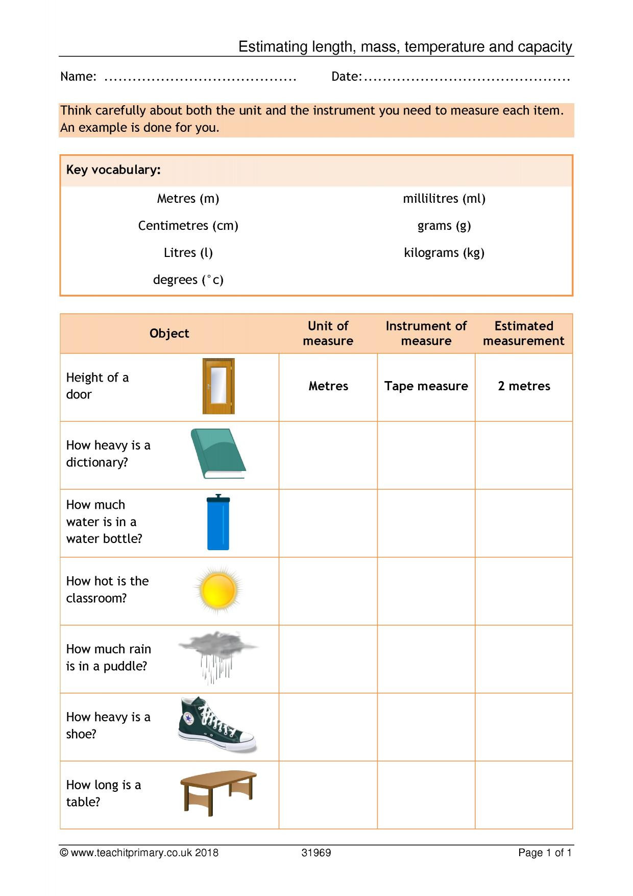Mass and Weight Worksheet Ks2 Mass and Weight