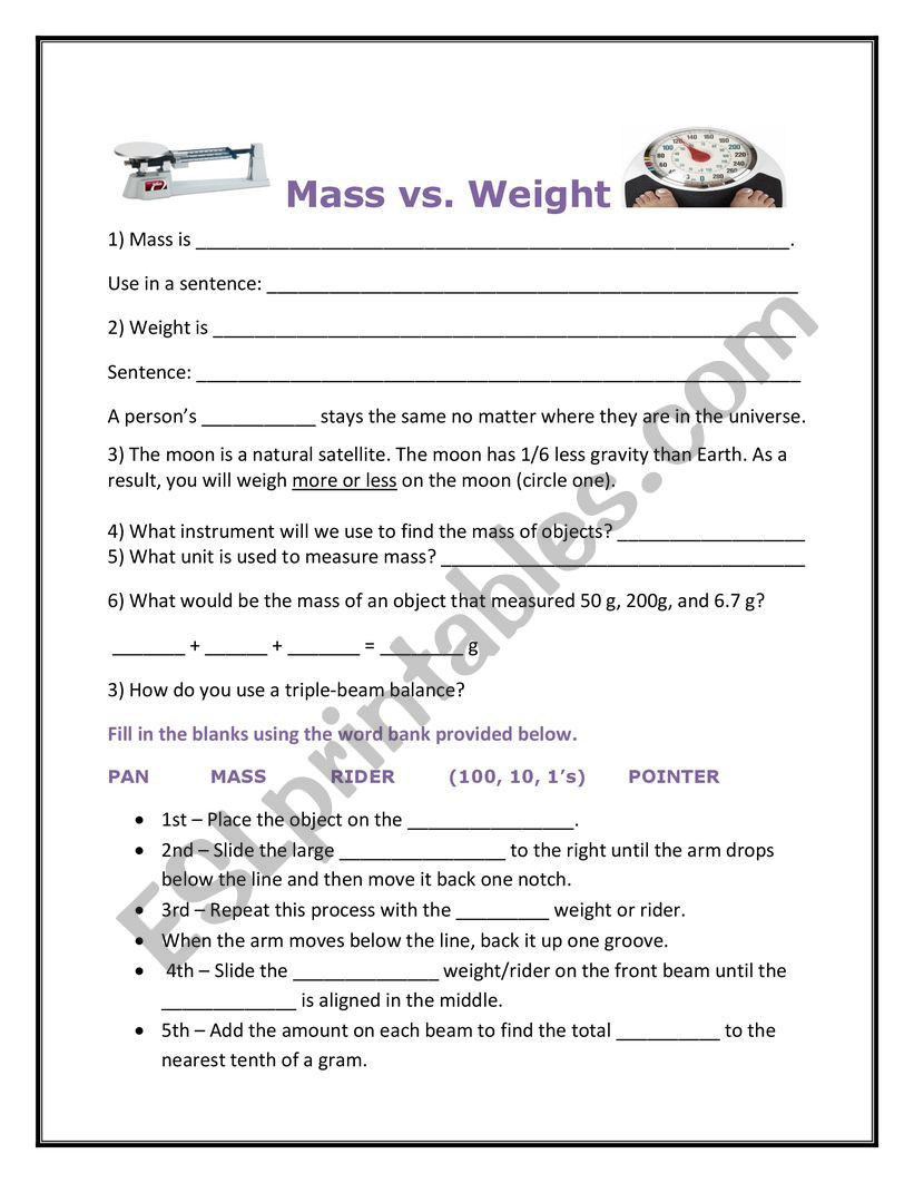 Mass and Weight Worksheet Mass Versus Weight & How to Use A Triple Beam Balance Esl