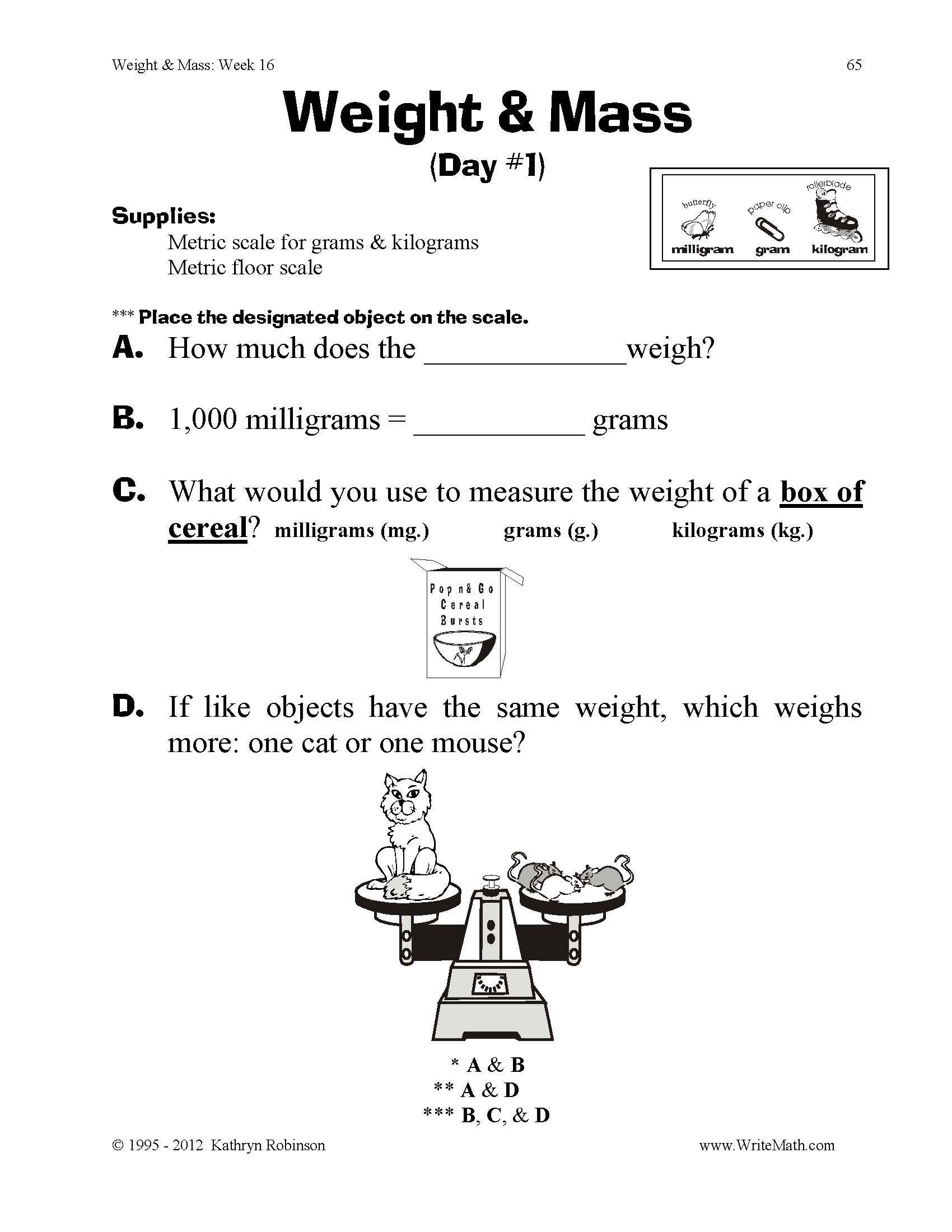 Mass and Weight Worksheet Teaching Weight & Mass 3rd 4th 5th Grade Math Worksheets