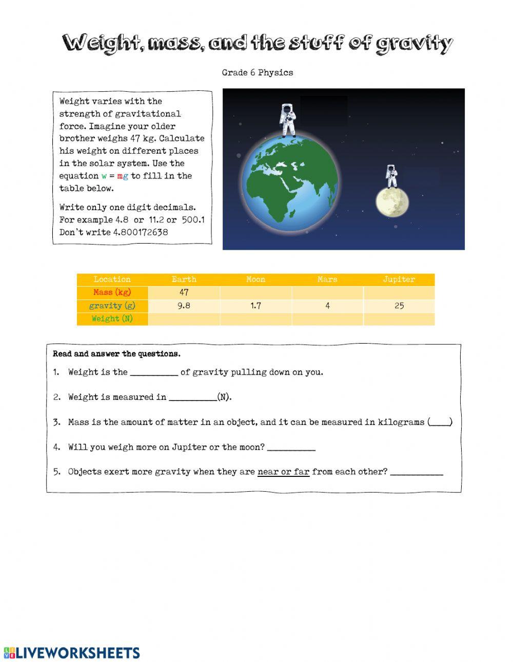 Mass and Weight Worksheet Weight Mass and Gravity Interactive Worksheet