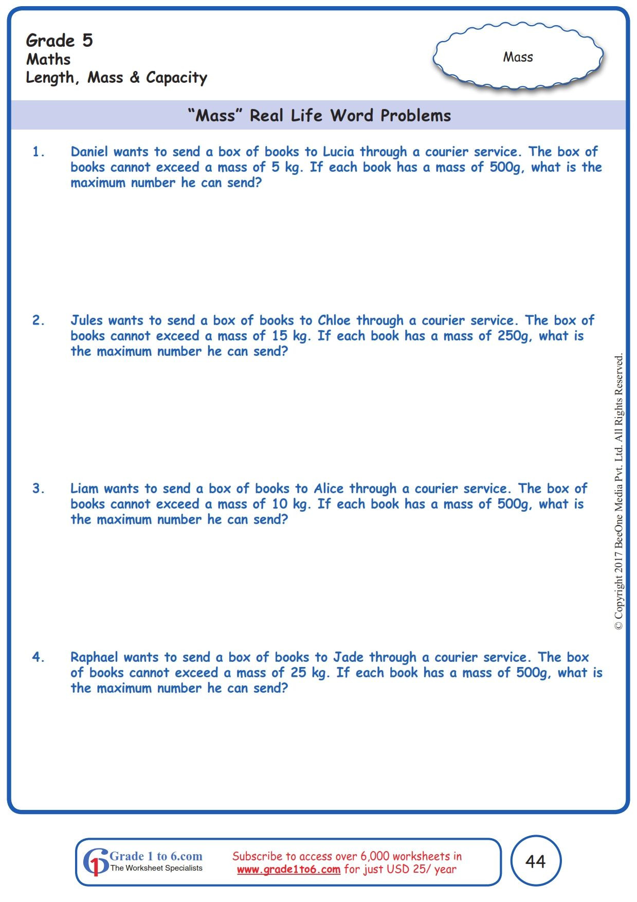 """Mass and Weight Worksheet Worksheet Grade 5 Math """"mass"""" Real Life Word Problems In"""