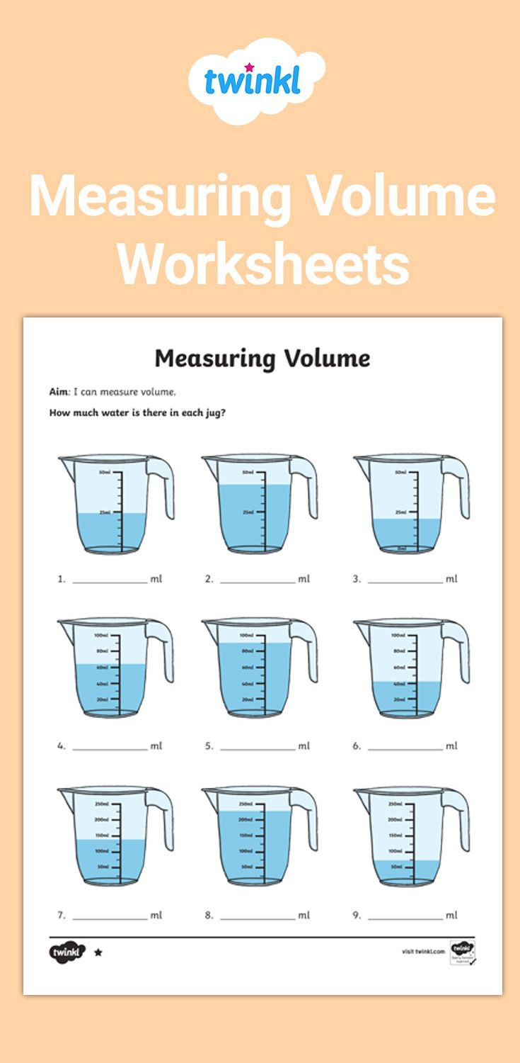 Measuring Liquid Volume Worksheet Measure Different Volumes with these Differentiated