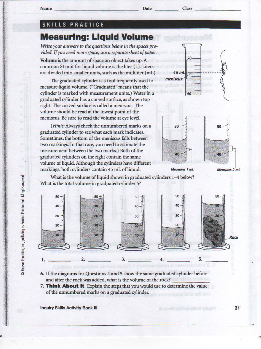 Measuring Liquid Volume Worksheet Measuring Liquid Volume