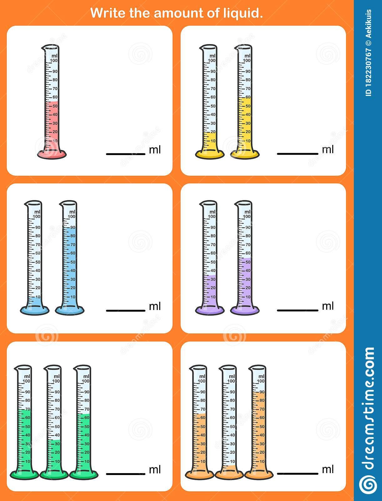 Measuring Liquid Volume Worksheet Write the Amount Liquid Measurement Volume Stock