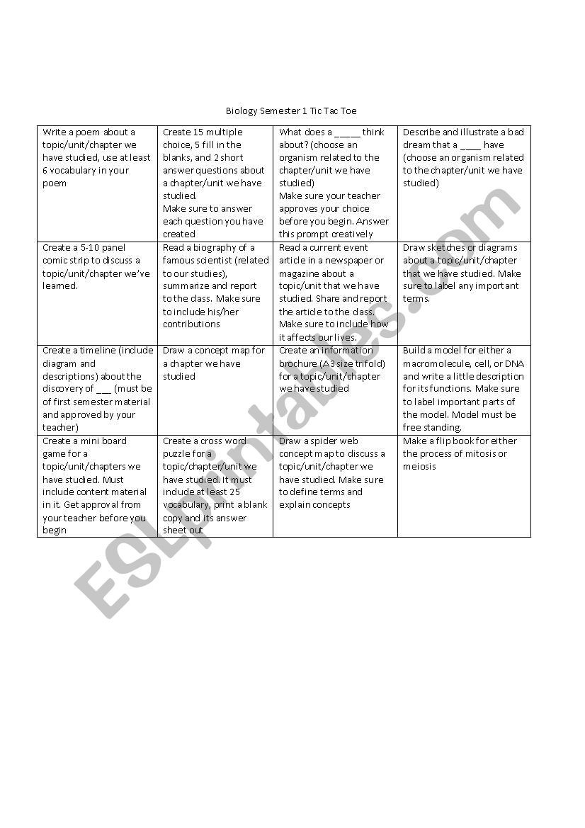 Meiosis Worksheet Vocabulary Answers Biology Semester 1 Tic Tac toe Esl Worksheet by Lilyhcy