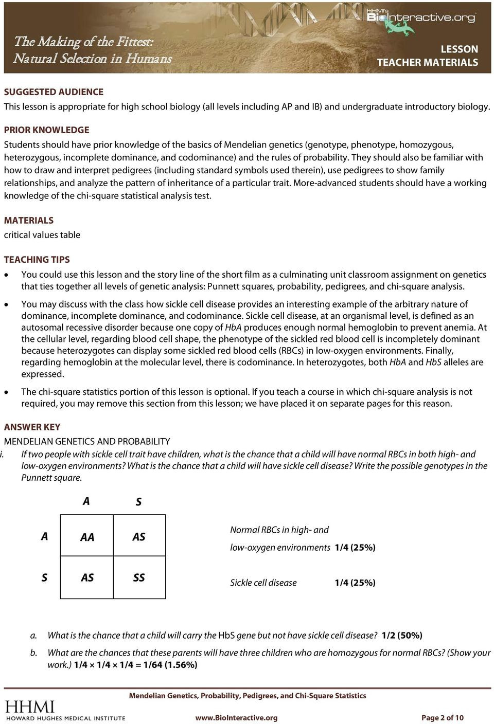 Mendelian Genetics Worksheet Answers the Making Of the Fittest Natural Selection In Humans Pdf