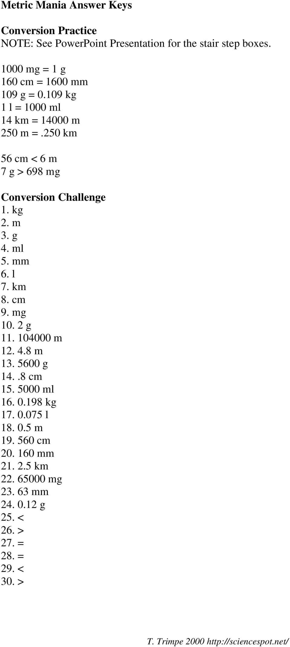 Metric Mania Worksheet Answers Unit Conversions Practice Pdf Free Download