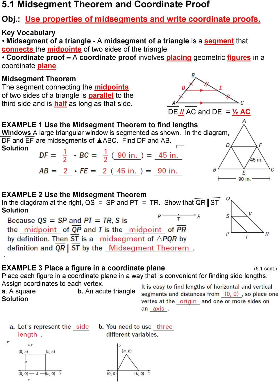 Midsegment theorem Worksheet Answer Key 5 1 Midsegment theorem and Coordinate Proof Pdf Free Download
