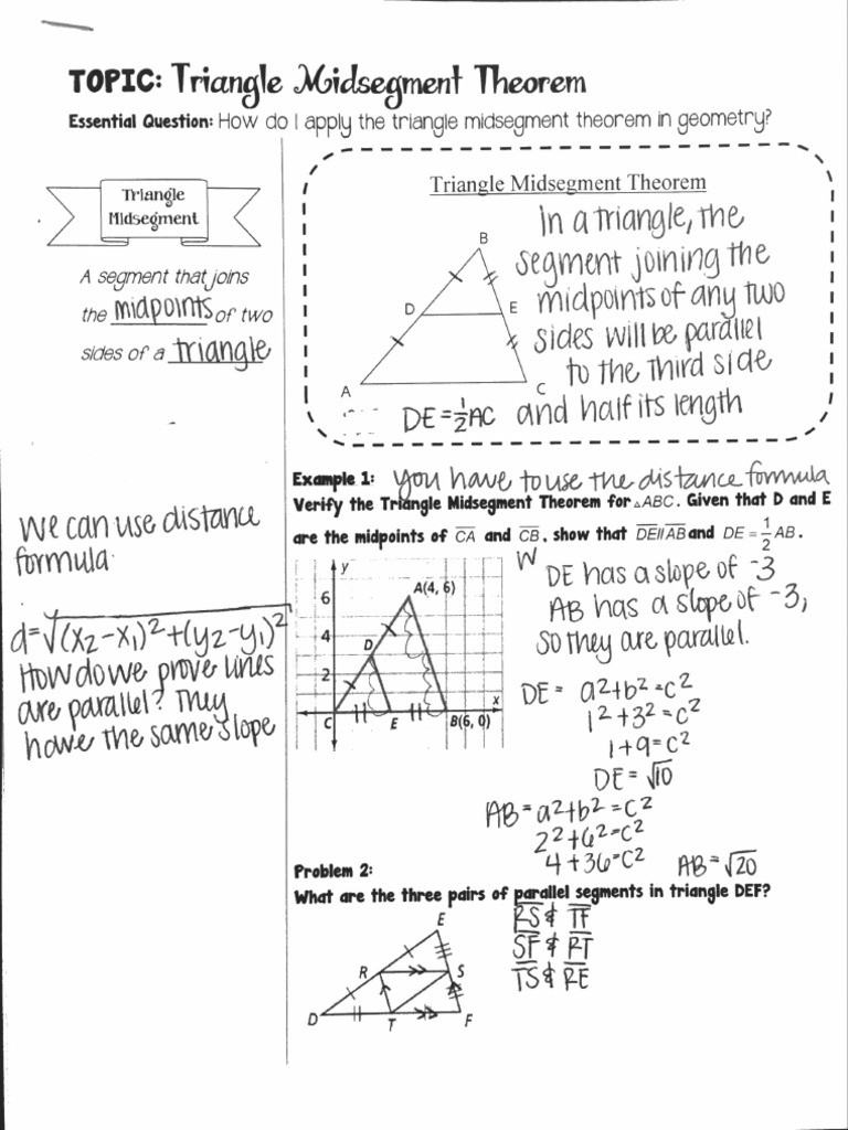 Midsegment theorem Worksheet Answer Key 6 3 Triangle Midsegment theorem Notes Pleted