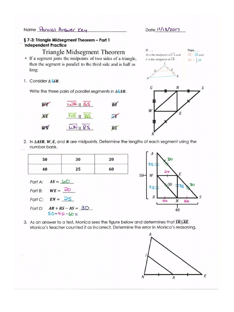 Midsegment theorem Worksheet Answer Key Geometry Math Nation Ind Practice Partial 7 3 to 7 4