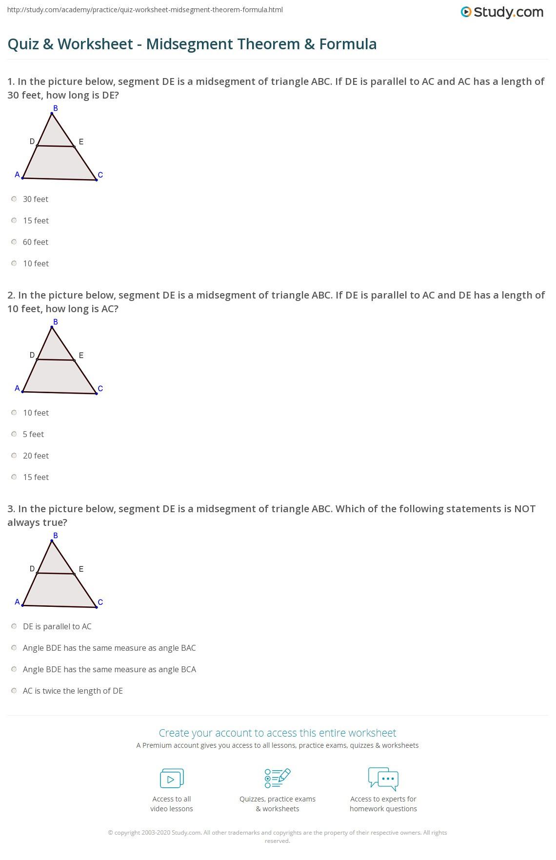 Midsegment theorem Worksheet Answer Key Quiz & Worksheet Midsegment theorem & formula