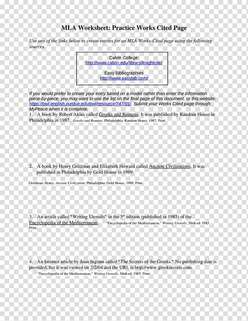 Mla Citation Practice Worksheet Citation Document Book Writing Essay Book Transparent