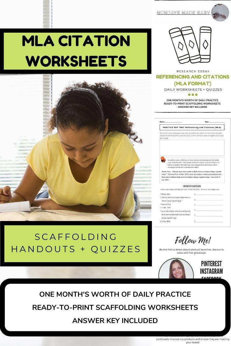 Mla Citation Practice Worksheet Distance Learning Mla Citations Practice Worksheets and