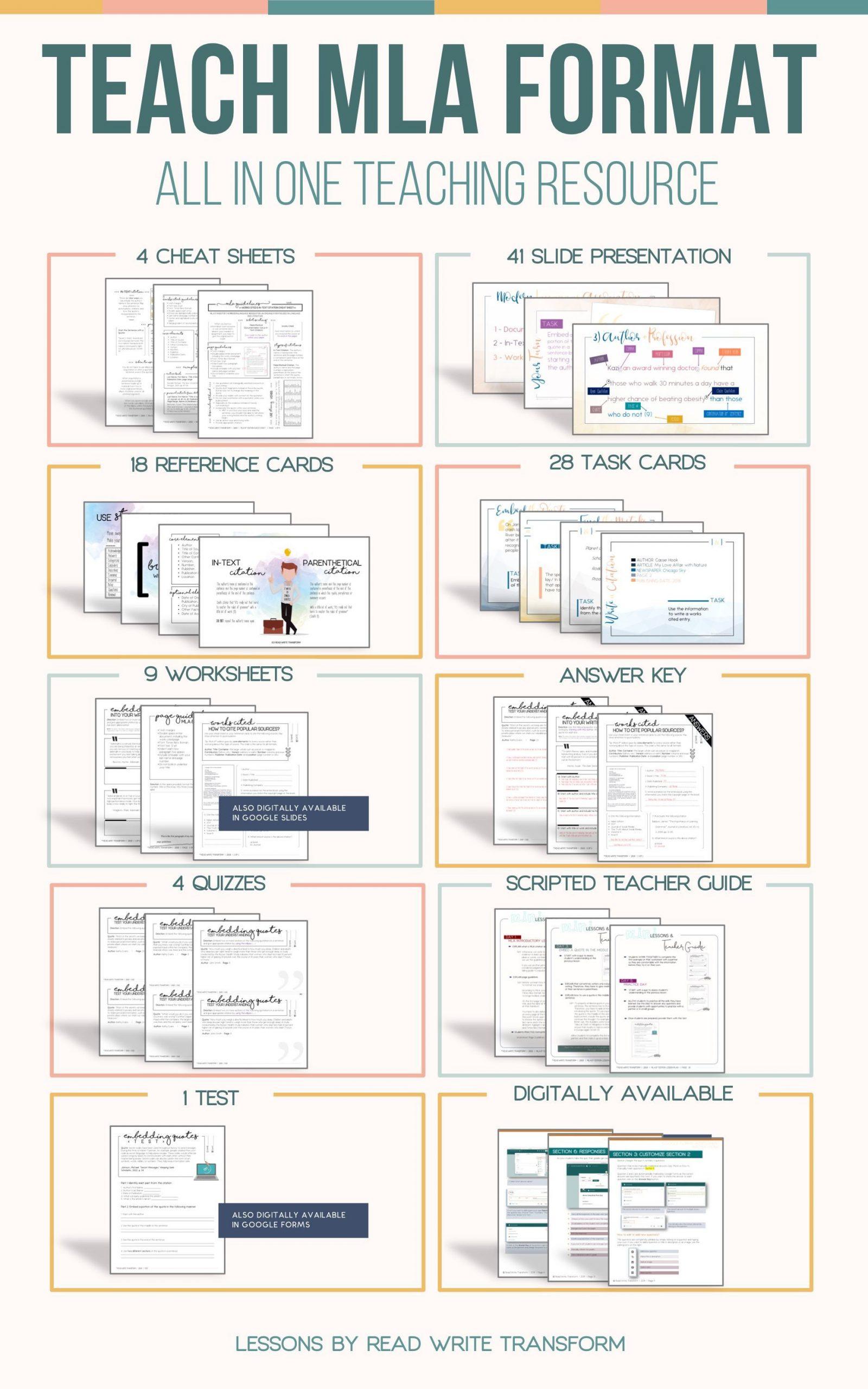 Mla Citation Practice Worksheet Distance Learning Mla format Bundle Worksheets