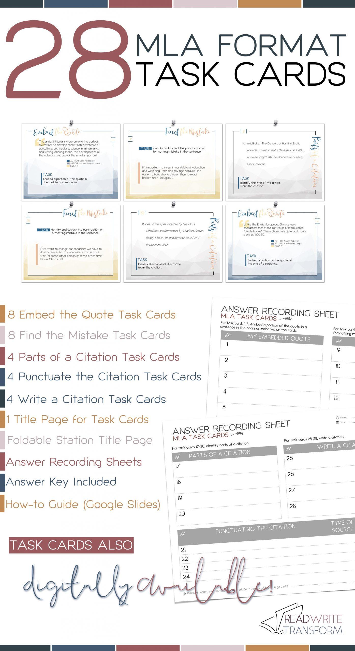 Mla Citation Practice Worksheet Mla format 8th Edition Task Cards Print & Digital