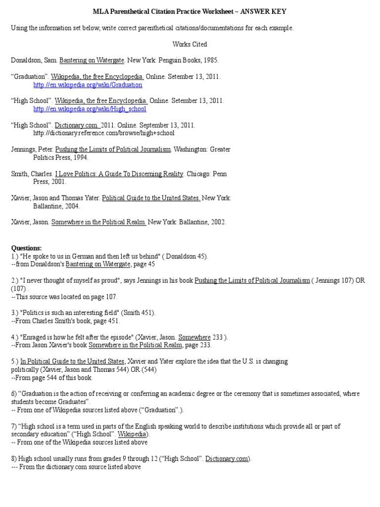 Mla Citation Practice Worksheet Mla Parenthetical Citation Practice Worksheet Answer Key