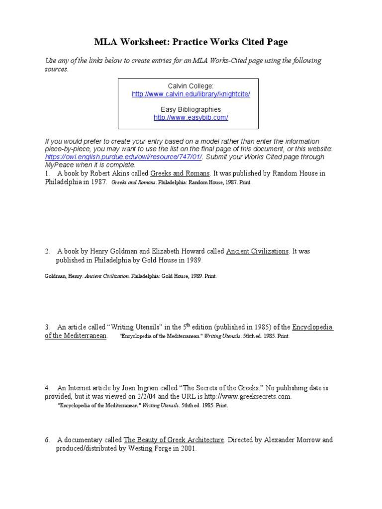 Mla Citation Practice Worksheet Mla Practice Worksheet Done Publishing