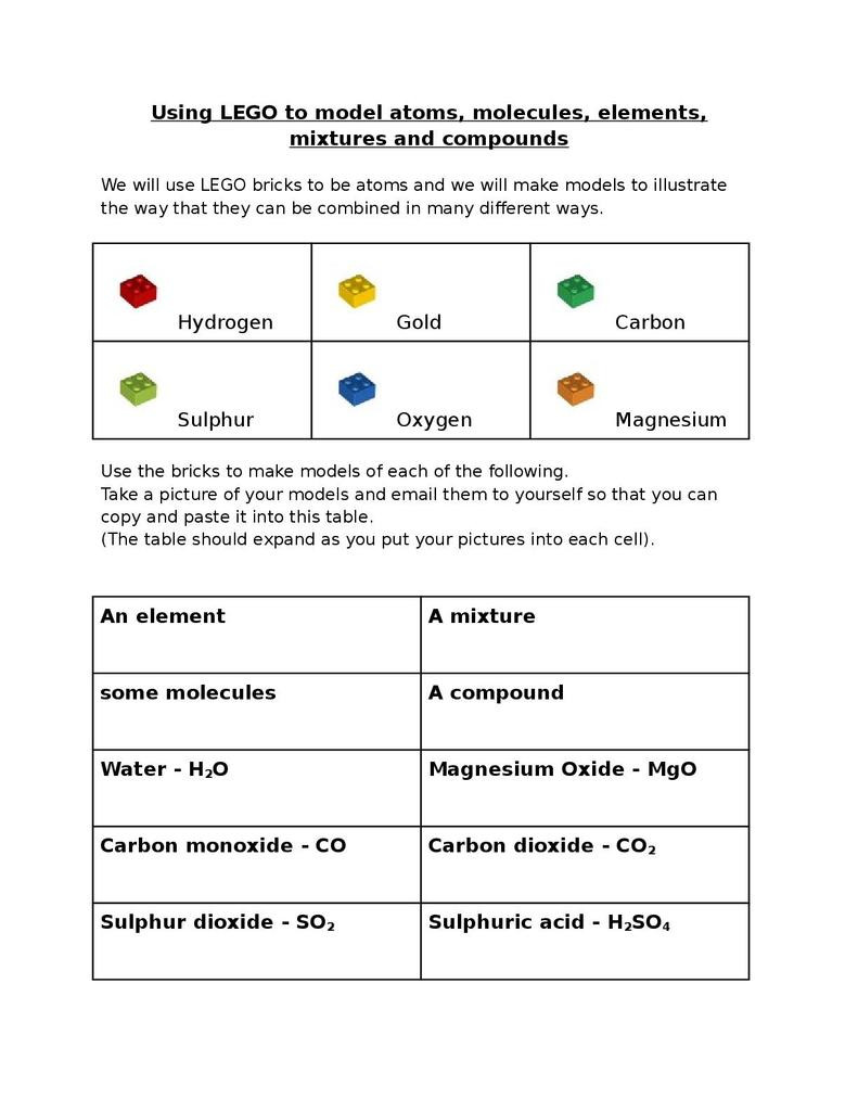 Molecules and Compounds Worksheet Lego atoms Elements Mixtures and Pounds