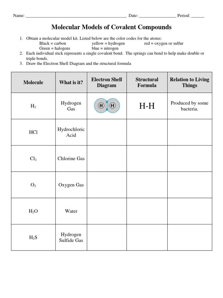 Molecules and Compounds Worksheet Molecular Models Of Covalent Pounds Worksheet