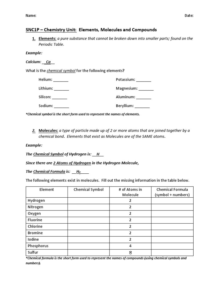 Molecules and Compounds Worksheet Snc1p Chemistry Practice Worksheet Molecules