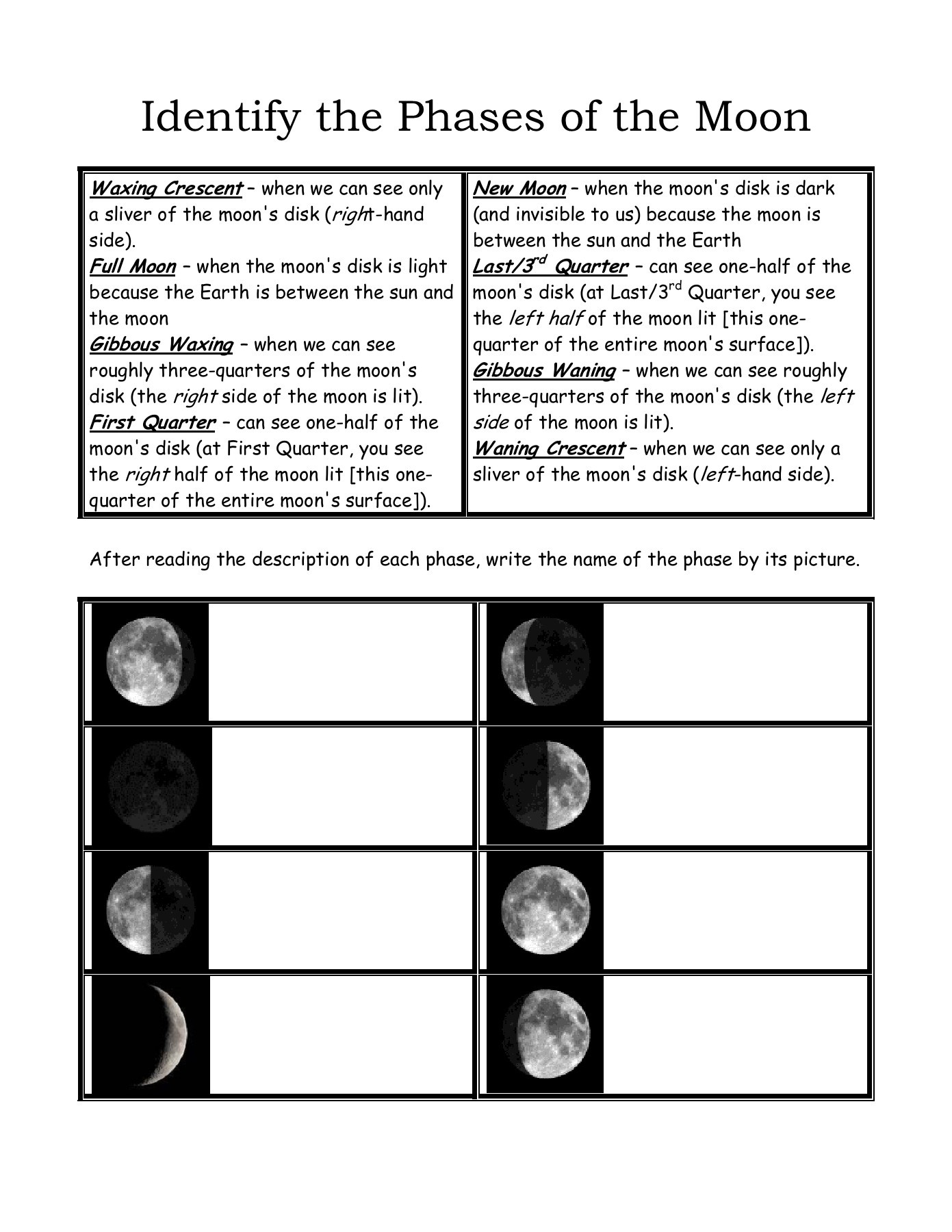 Moon Phases Worksheet Answers Name Identifying Phases Of the Moon Mrscienceut Pages