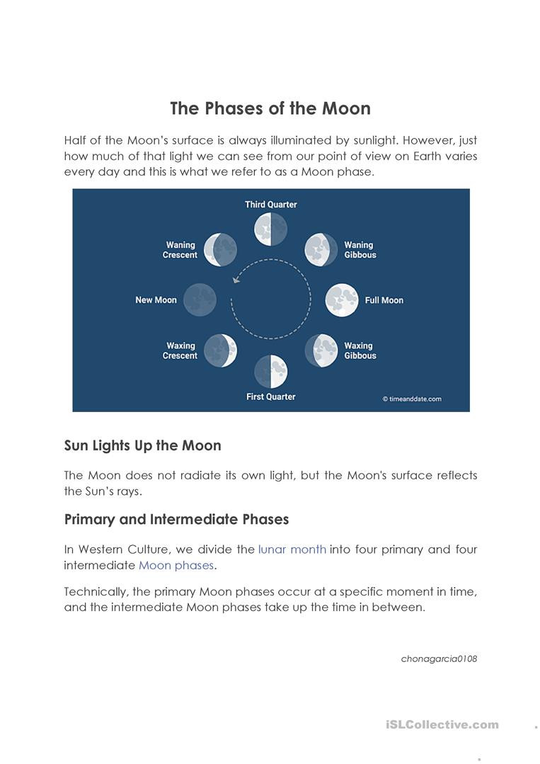 Moon Phases Worksheet Answers Phases Of the Moon English Esl Worksheets for Distance