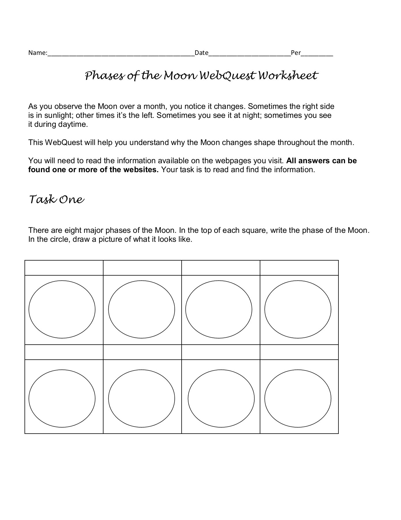 Moon Phases Worksheet Answers Phases Of the Moon Webquest Worksheet Cusd80 Pages 1