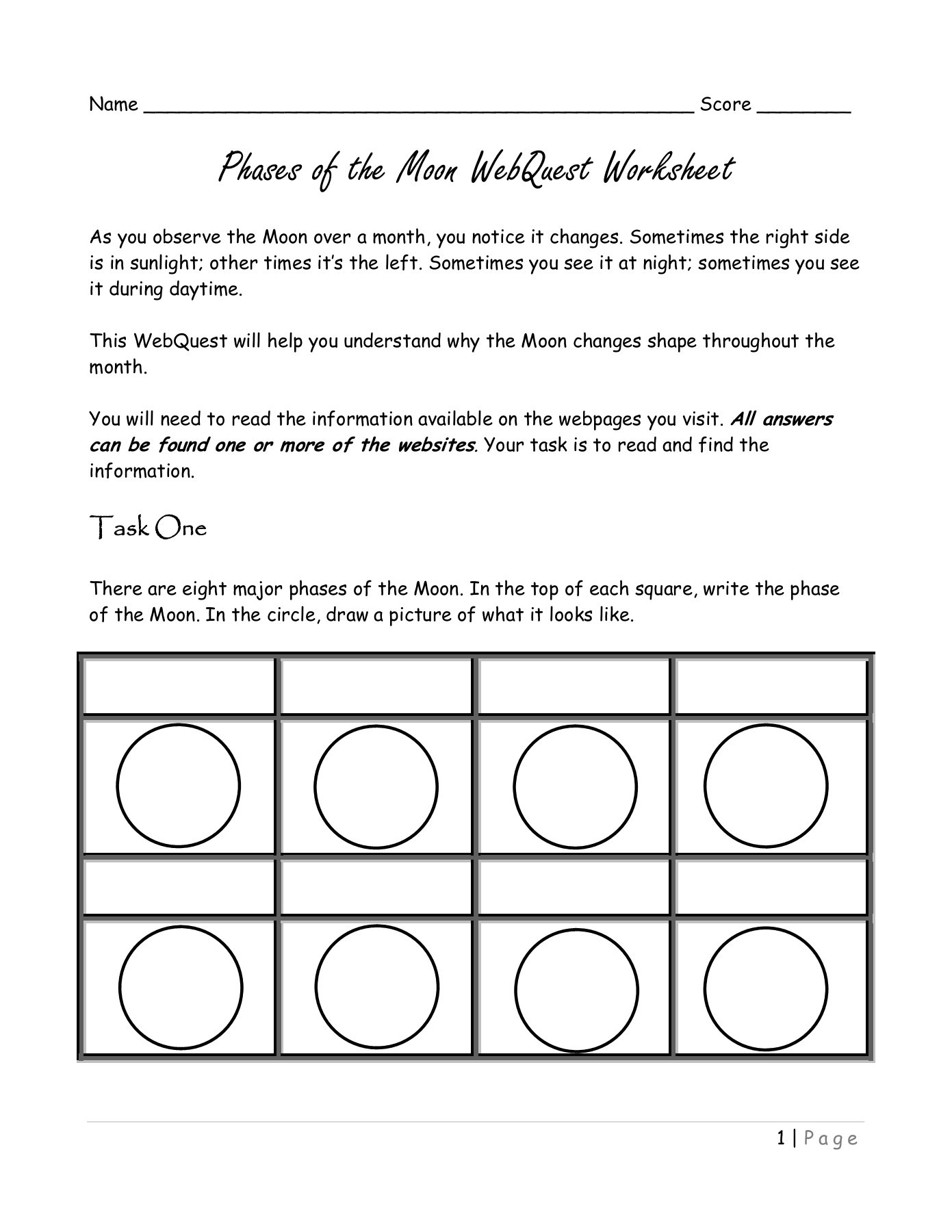 Moon Phases Worksheet Answers Phases Of the Moon Webquest Worksheet Mrscienceut