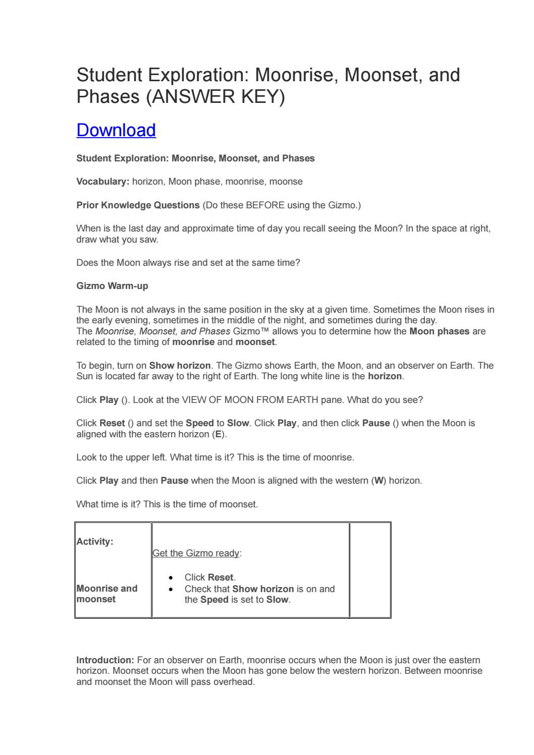 Moon Phases Worksheet Answers Student Exploration Phases Of the Moon Answer Key by